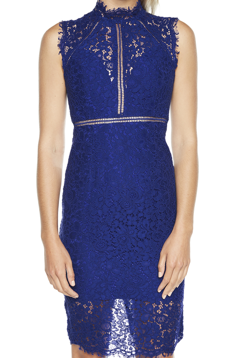LACE PANEL DRESS in colour SURF THE WEB