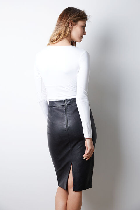DONNA TUBE VEGAN LEATHER SKIRT in colour CAVIAR