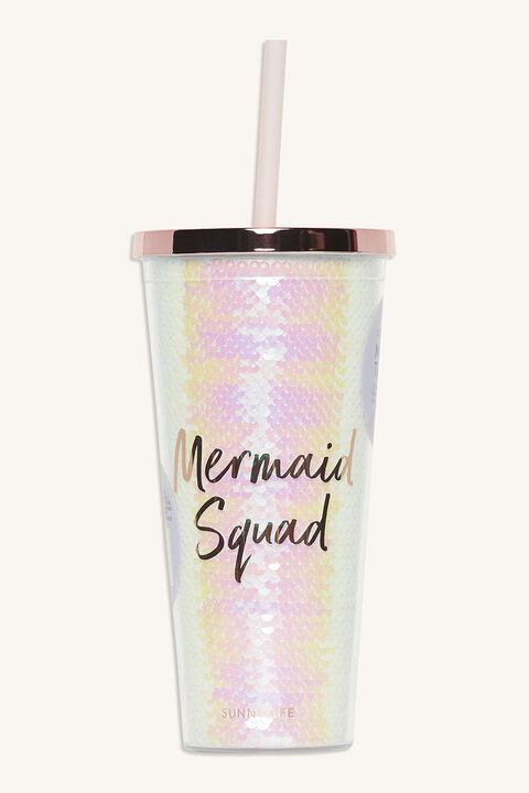 MERMAID TUMBLER IRIDESCENT in colour PINK CARNATION