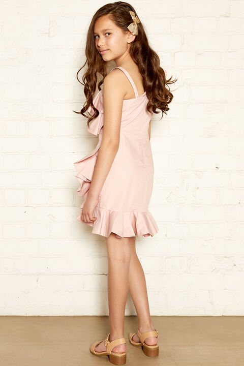 CHELSEY FRILL DRESS in colour PARFAIT PINK