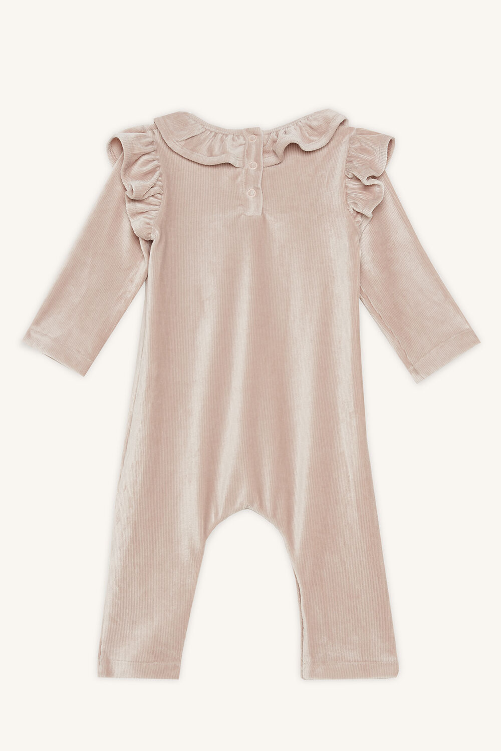 KRISS RUFFLE ROMPER in colour PEACH BLUSH