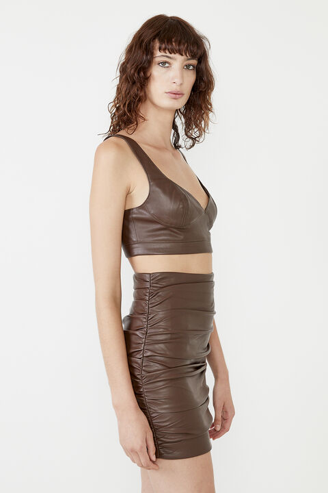 CARA VEGAN LEATHER SKIRT  in colour CHOCOLATE BROWN