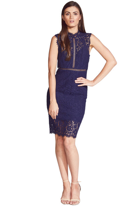 LACE PANEL DRESS in colour PEACOAT