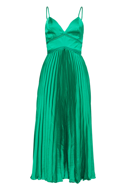 MARY PLEATED DRESS in colour CLASSIC GREEN