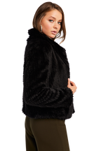 RABBIT FAUX FUR JACKET in colour CAVIAR