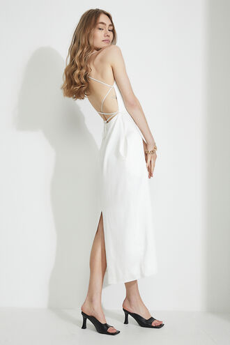 MINDY BACK DETAIL MIDI DRESS in colour CLOUD DANCER