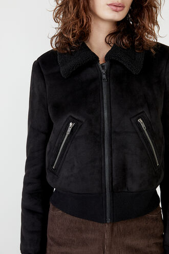 SHEARLING BOMBER in colour CAVIAR
