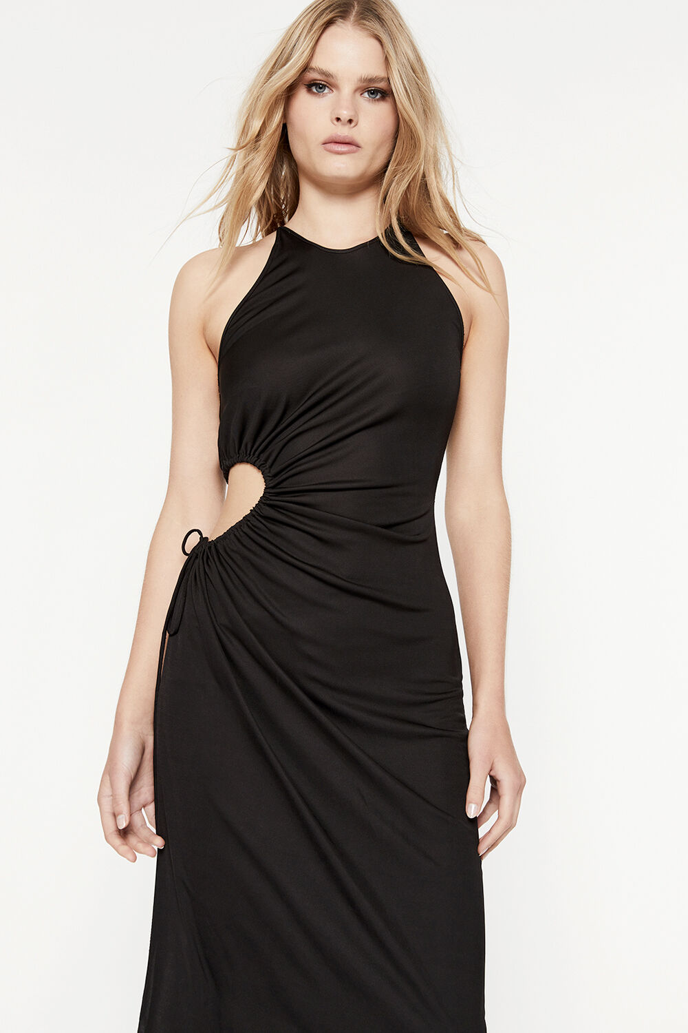 MIMOSA CUT OUT DRESS in colour CAVIAR