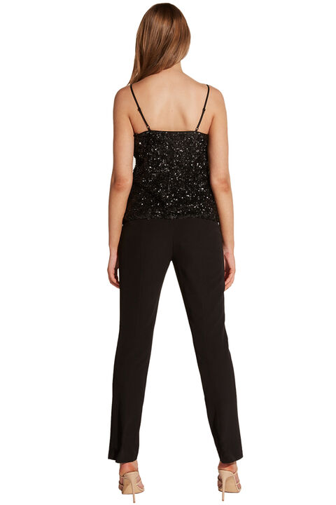 SEQUIN CAMI in colour CAVIAR