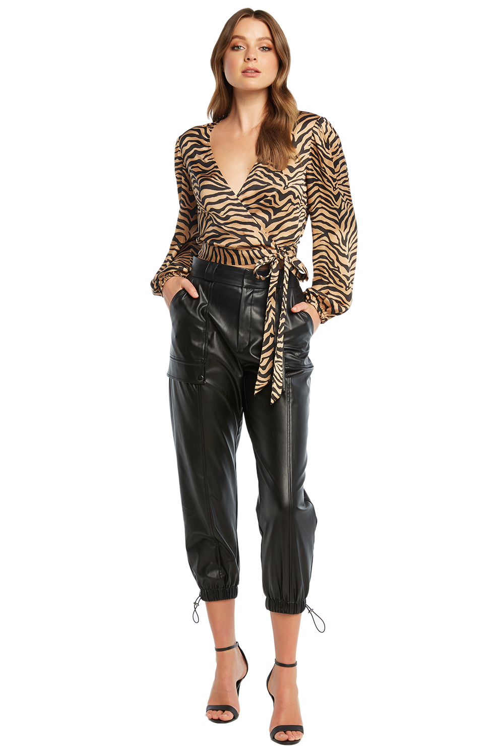 RILEY CARGO VEGAN LEATHER PANT in colour CAVIAR