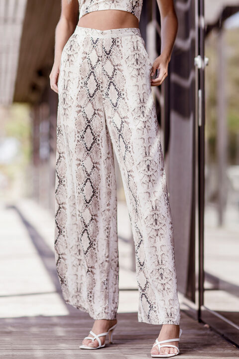 SNAKE PRINT PANT in colour VANILLA ICE