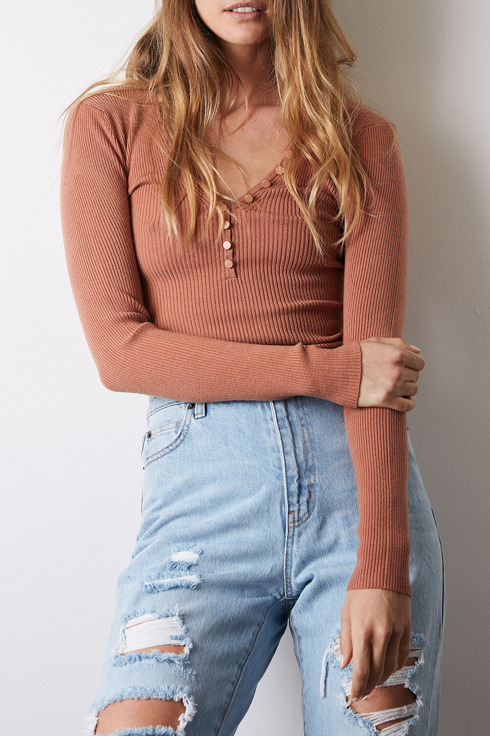 BUTTON NECK KNIT TOP in colour LARK