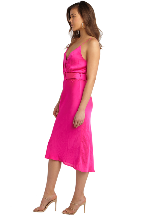 REAGAN MIDI DRESS in colour SHOCKING PINK