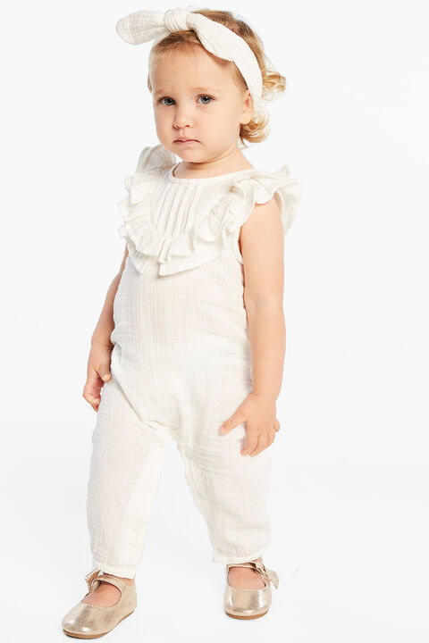 BABY GIRL PEGGY RUFFLE ROMPER in colour CLOUD DANCER