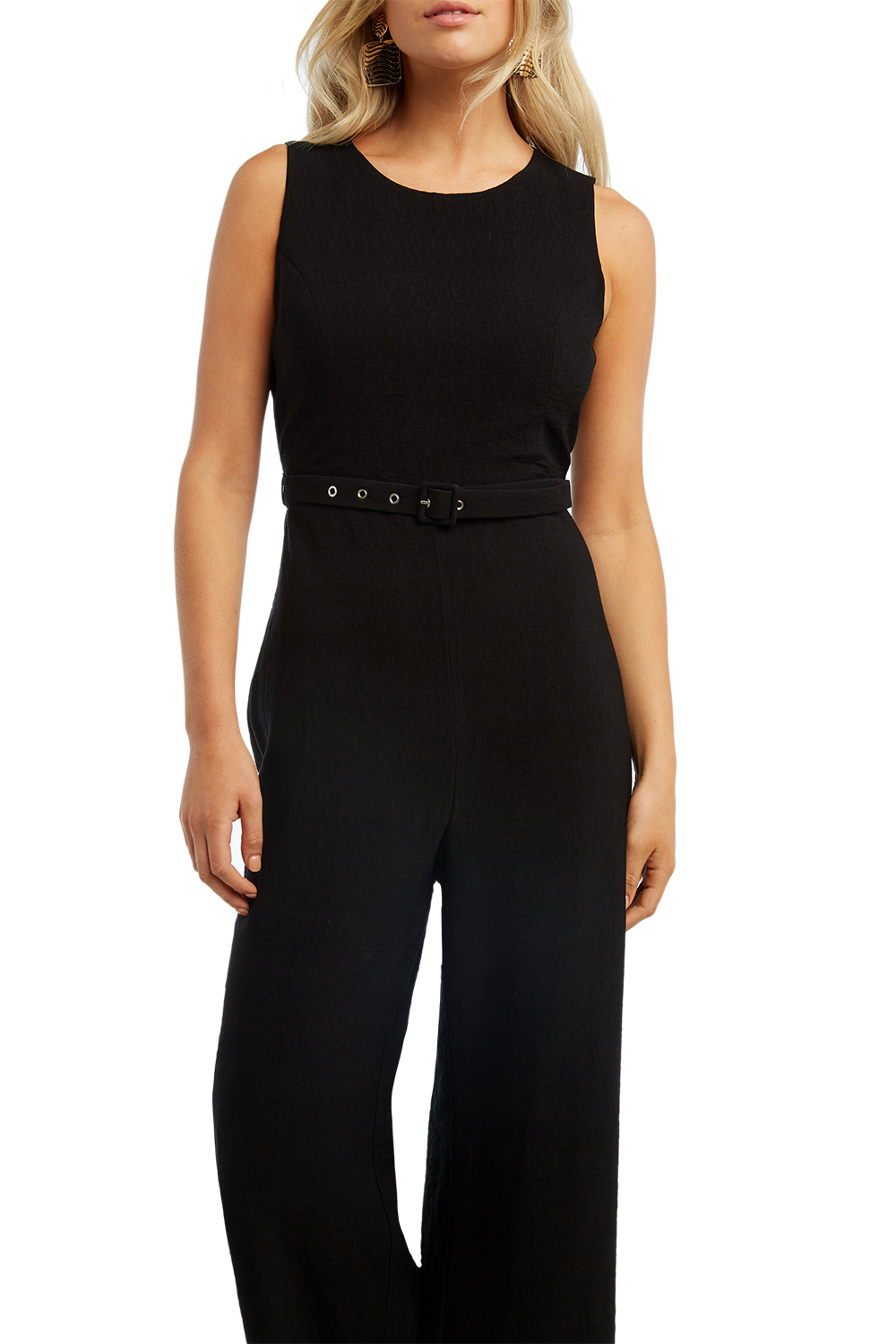 BELTED JUMPSUIT in colour CAVIAR