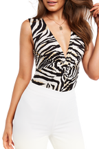 ZEBRA PRINT BODYSUIT in colour CAVIAR