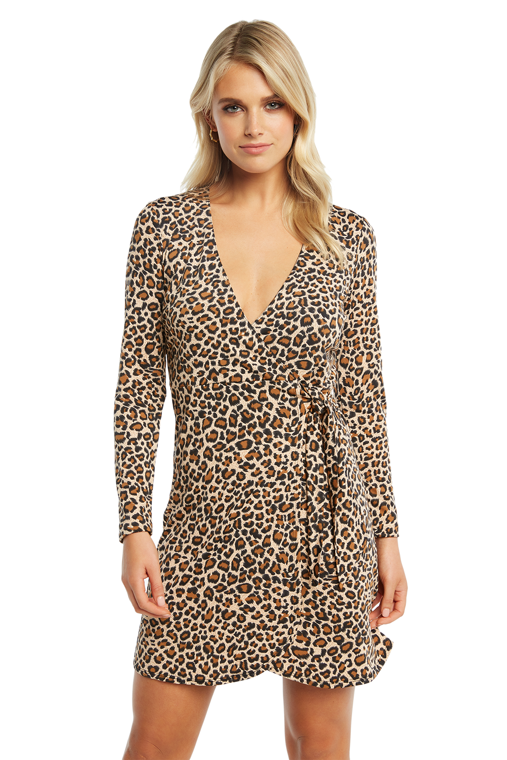LEOPARD WRAP DRESS in colour LATTE