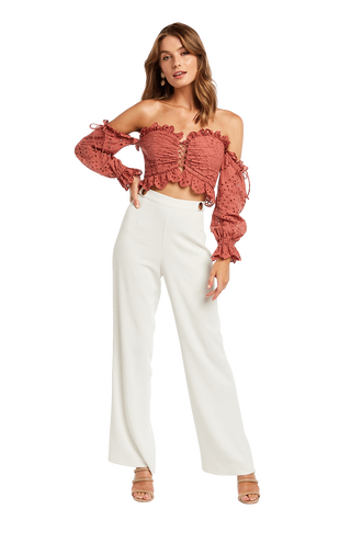 BRODERIE SHOULDER TOP in colour CANYON ROSE