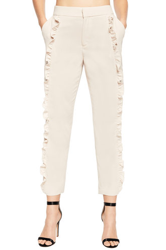 FRILL CIGARETTE PANT in colour ROSEWATER