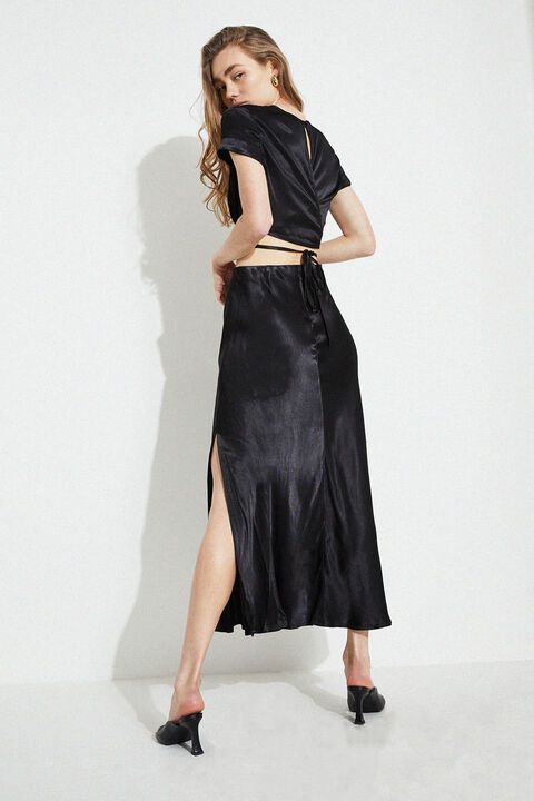 MIDI SLIP SKIRT in colour CAVIAR