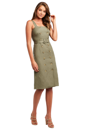LINEN BELT DRESS in colour MOON MIST