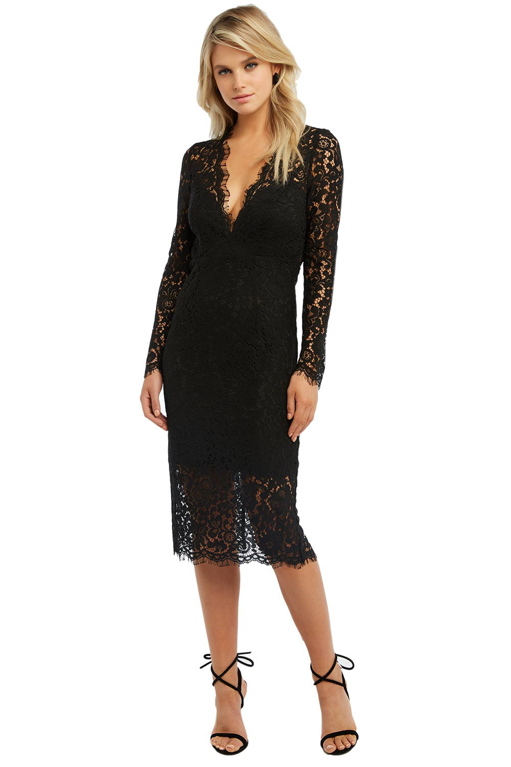 RHONDA LACE DRESS in colour CAVIAR
