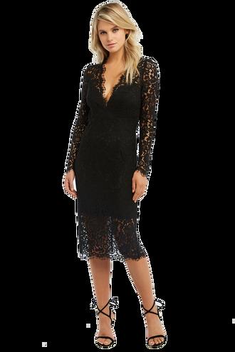 RHONDA LACE DRESS in colour CAVIAR