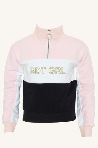 BDT SPLICE SWEAT TOP in colour PRIMROSE PINK