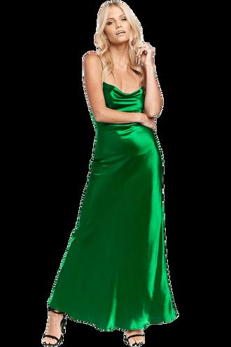 ESTELLE DRAPE DRESS in colour CLASSIC GREEN
