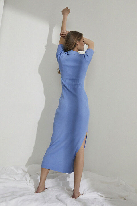 MULTITONE KNIT DRESS in colour CERULEAN
