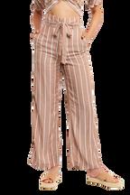 STRIPE WIDE LEG PANT in colour COPPER BROWN