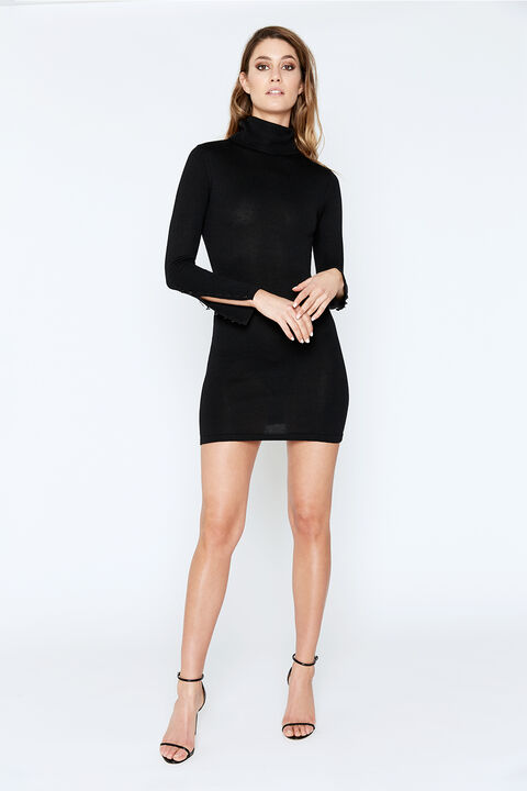 ROLL NECK KNIT DRESS in colour CAVIAR