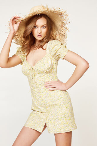 LUCINTA MINI DRESS in colour YELLOW CREAM