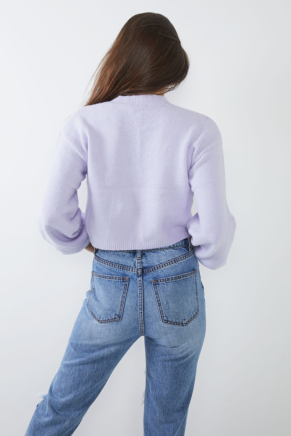 CHLOE COSY CROP KNIT in colour GRAY LILAC
