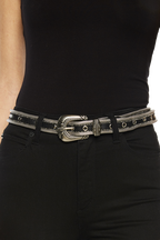 MULTI METAL EYELET BELT in colour METEORITE