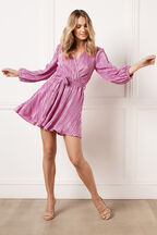 BELLISSA PLEAT DRESS in colour PURPLE ORCHID
