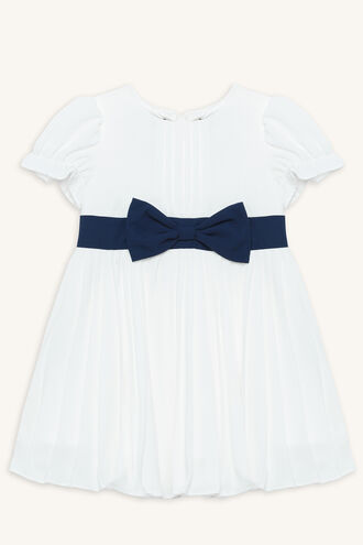 PLEAT BOW DRESS in colour BRIGHT WHITE