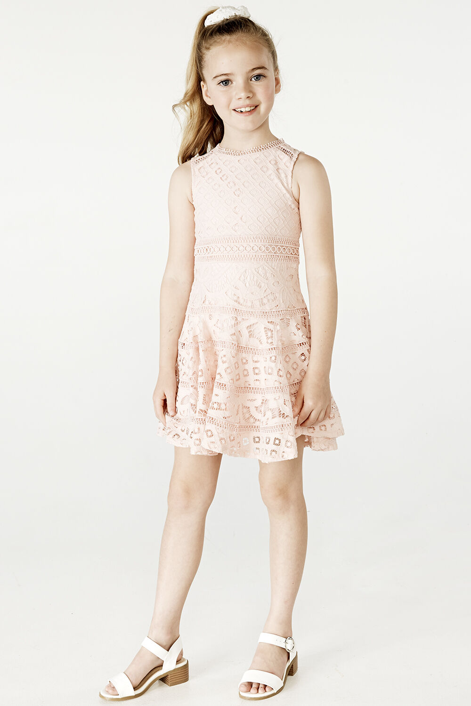 JUNIOR GIRL ELISE LACE DRESS in colour MOOD INDIGO