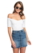 POPPY OFF SHOULDER BODYSUIT in colour BRIGHT WHITE
