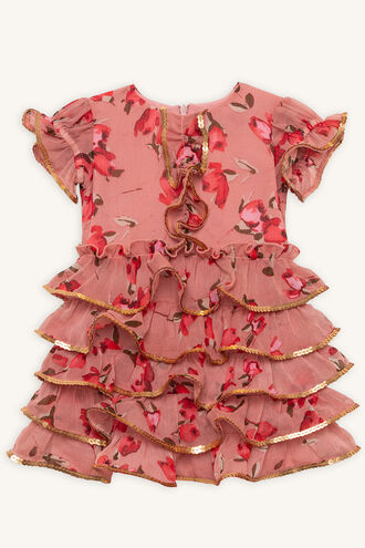 ROSIE RA RA DRESS in colour ROSE DAWN