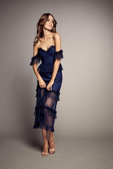 Splice Lace Dress in Estate Bl