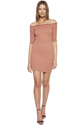 SHIRRED 3/4 SLEEVE DRESS in colour COPPER BROWN