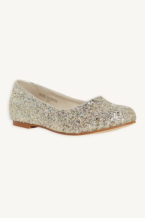 GLITTER BALLET FLAT in colour GOLD EARTH