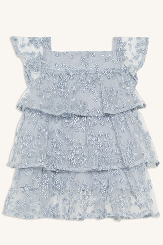 FLORAL MESH DRESS in colour DUSTY BLUE