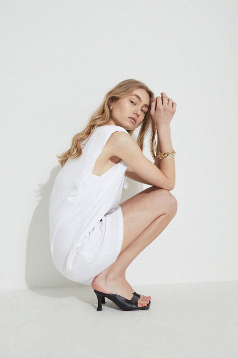 SHOULDER PAD MINI DRESS in colour BRIGHT WHITE