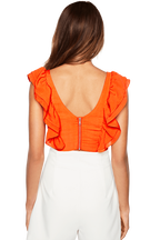 FRILL BUSTIER TOP in colour FLAME