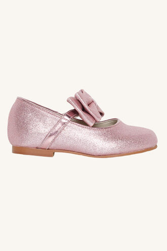 GLITTER BOW FLAT in colour PINK CARNATION
