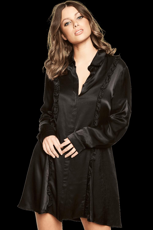 CASSIA RUFFLE DRESS in colour CAVIAR