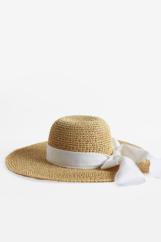 BOW SUN HAT in colour NATURAL