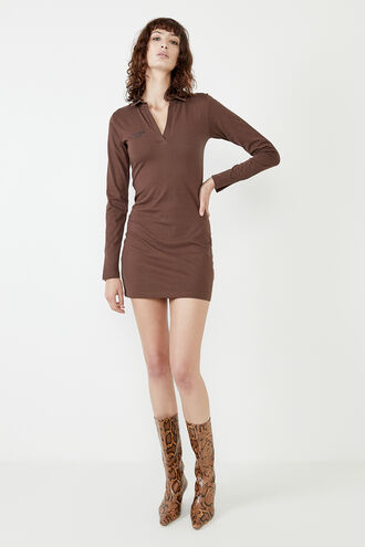 MARNIE COLLARED MINI DRESS in colour CHOCOLATE BROWN